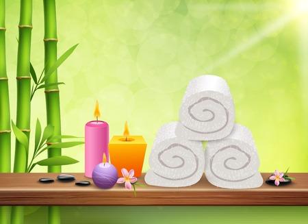 スパ現実的な緑色の背景竹茎の香りキャンドル タオル平らな石とプルメリアの花ベクトル イラスト
