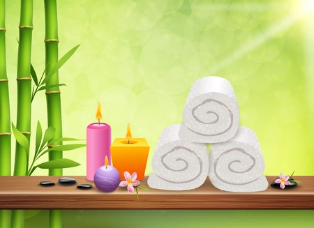 SPA realistic green background with bamboo stems aroma candles towels flat stones and plumeria flowers vector illustration Vectores