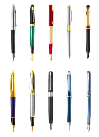 Gekleurd en realistisch bedrijfspenpictogram dat met verschillende types en kleuren van pennen vectorillustratie wordt geplaatst Stock Illustratie