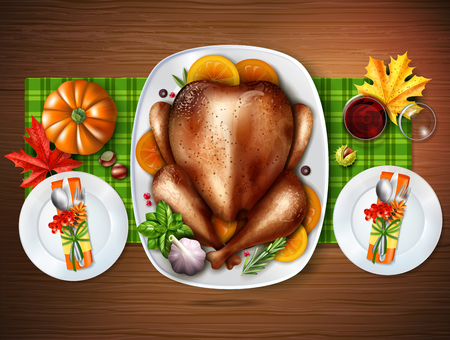 cooked meat: Colored realistic top turkey composition with a table with treats for two vector illustration Illustration