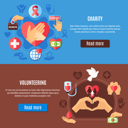 Charity horizontal banners collection with read more button editable text and volunteering pictograms with silhouette icons vector illustration