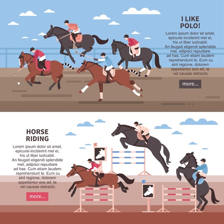 Flat horizontal banners with horse riding with hurdles and polo players  during game isolated vector illustration