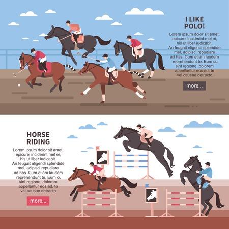 Vlakke horizontale banners met paardrijden met hindernissen en polospelers tijdens spel geïsoleerde vectorillustratie