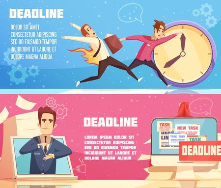 Workloads deadline pressures work stress for managers leaders and burning out cartoon symbols 2 horizontal banners vector illustration Ilustração