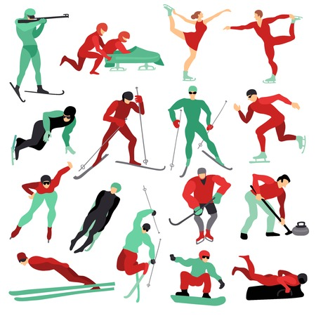 Flat set of male and female people doing various winter sports isolated on white background vector illustration Illustration