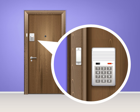 Brown wooden door alarm system realistic 3d composition with code or password vector illustration