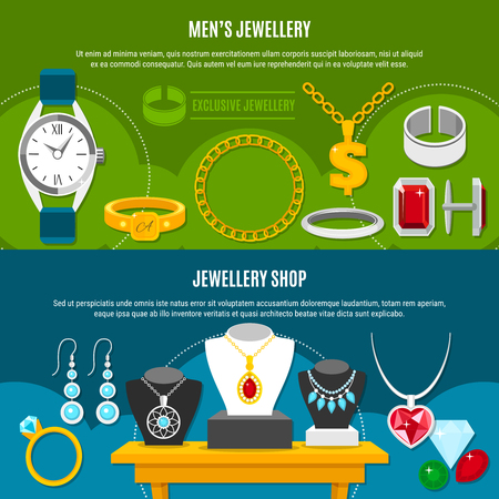 Jewelry shop horizontal banners with mens valuables, female decorations on blue and green backgrounds isolated vector illustration