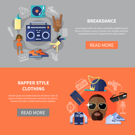 Horizontal banners with rapper style clothing and breakdance. Иллюстрация