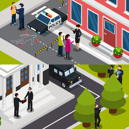 Horizontal isometric banners with special agent at crime scene and during briefcase transfer isolated vector illustration