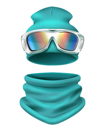 Colored and realistic ski suit composition with sports cap and face protection vector illustration