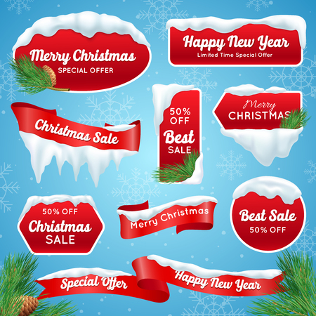 Christmas sale realistic badges with snow piles isolated vector illustration Иллюстрация