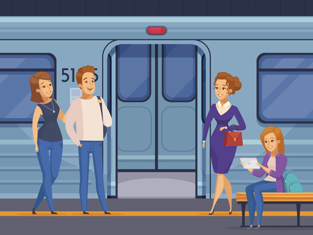 People waiting at subway underground station with open metro train doors on background cartoon composition  vector illustration Illustration