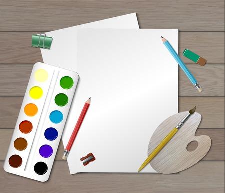 視覚芸術ベクターイラストに携わるデザイナーまたは児童のための創造的な色の職場構成