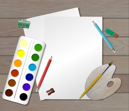 Creative colored workplace composition for designer or child engaged in visual arts vector illustration