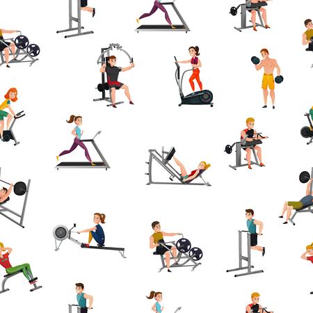 Il modello senza cuciture con gli uomini e le donne sorridenti all'attrezzatura di esercizio su fondo bianco vector l'illustrazione Vettoriali
