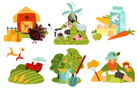 Farm design concept with gardening, windmills on green fields, barn and hay, animals, products isolated vector illustration
