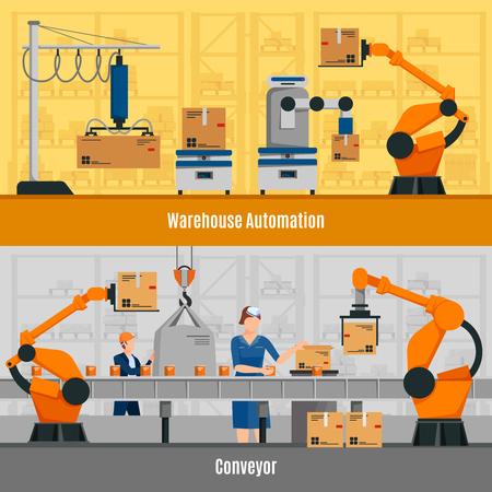 Warehouse automation horizontal banners set with conveyor symbols flat isolated vector illustration
