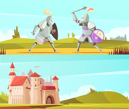 Bannières médiévales horizontales dessin animé avec château et combats de chevaliers en armure complète de corps costumes vector illustration Vecteurs