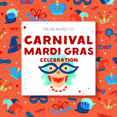 Mardi gras carnival celebration decorative colorful square frame invitation background poster with funny clown hats vector illustration