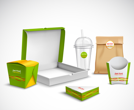 Fast food packaging corporate identity realistic templates samples set with vibrant green-white  pizza box vector illustration Ilustração