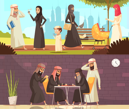 Arab muslims traditional family and social life with playing chess men 2 horizontal cartoon banners isolated vector illustration