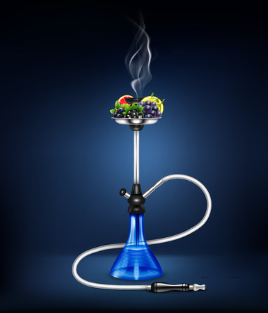 Colored and isolated stylish realistic hookah fruit composition on dark blue background vector illustration Ilustração