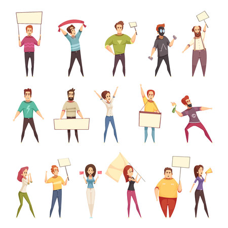 Protesting people decorative icons set of young men and women demonstrating protest with placards and flags isolated cartoon vector illustration