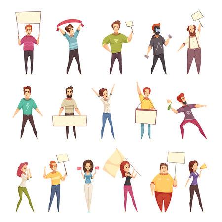 Protesterende pictogrammen van mensen decoratieve pictogrammen jonge mannen en vrouwen die protest met aanplakbiljetten en vlaggen geïsoleerde beeldverhaal vectorillustratie aantonen