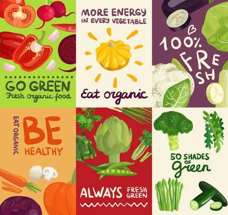 ポスターや野菜、ハーブやカラフルな背景分離ベクトル図に表記の題字とバナーの設定