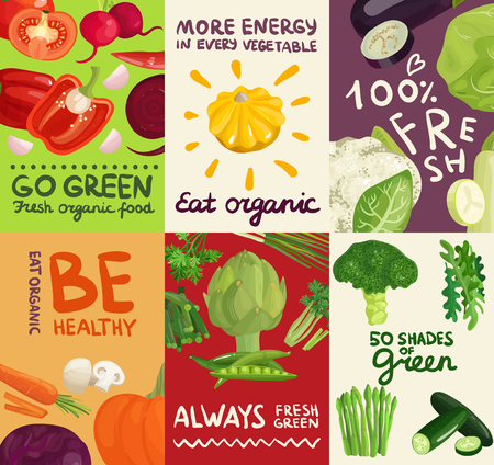 Set of posters and banners with vegetables, herbs and typographic letterings on colorful backgrounds isolated vector illustration