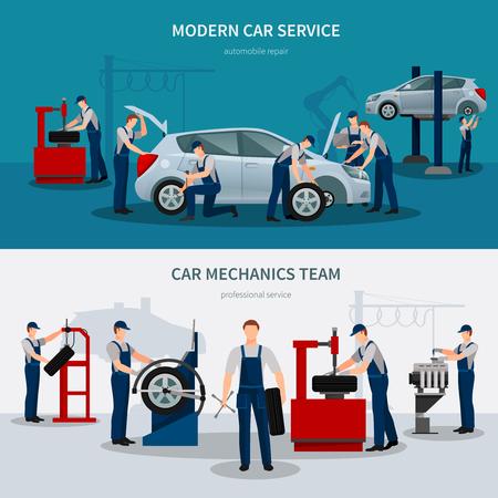 Insegne orizzontali di servizio dell'automobile con l'illustrazione di vettore isolata piano di simboli dei meccanici Archivio Fotografico - 88678093