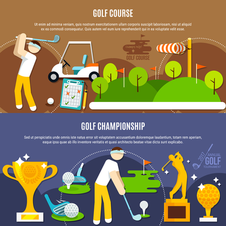 Golf competition horizontal banners with players, green course with flags, clubs and balls, trophies isolated vector illustration Çizim