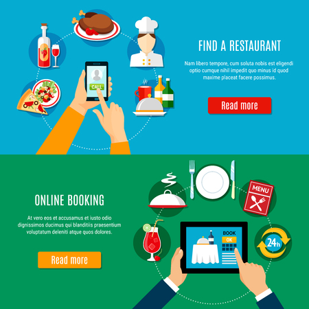 Finding choosing and booking restaurant online on mobile devices horizontal banners set flat isolated vector illustration Ilustração