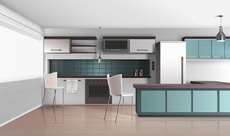 Realistische Designzusammensetzung der modernen Küche mit venezianischen Fensterläden lamellierte Bodenbelagkühlschrank und kochende Anlagen vector Illustration Vektorgrafik