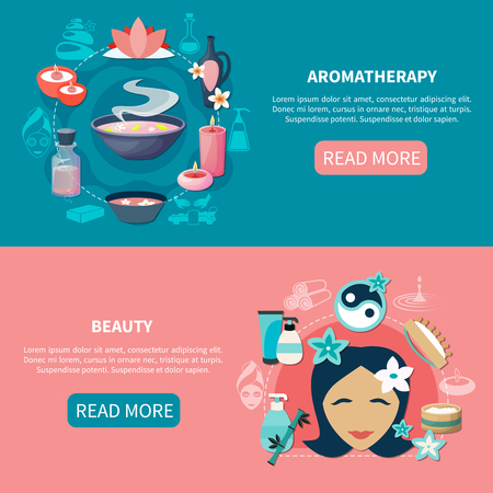 Spa wellness resort 2 flat banners webpage design with essential oils aromatherapy and beauty isolated vector illustration