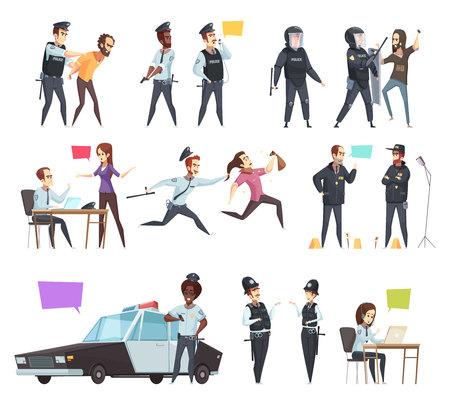 Policiers en travail bande dessinée sertie d'agents masculins et féminins impliqués dans la poursuite de patrouille de circulation et de détention illustration vectorielle isolé