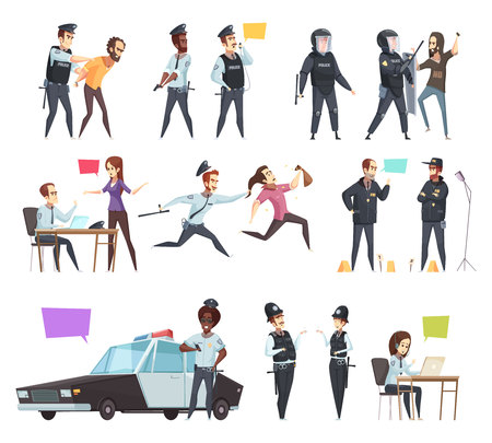 Policemen in work cartoon set with male and female officers involved in traffic patrol pursuit and detention isolated vector illustration Illustration