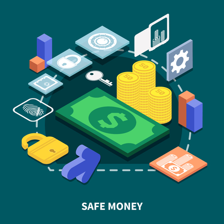 Isometric concept of secure financial transaction on dark background 3d vector illustration