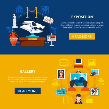 Gallery and museum exposition horizontal banners with paleontology exposits and visitors looking pictures flat vector illustration Illustration