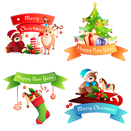 New year cartoon concept with greeting on stitched ribbon, christmas tree, gifts, animals, baubles isolated vector illustration