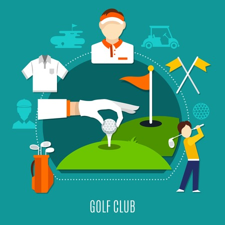 Golf club composition including hand putting ball on tee, players, sports equipment on blue background vector illustration Illustration