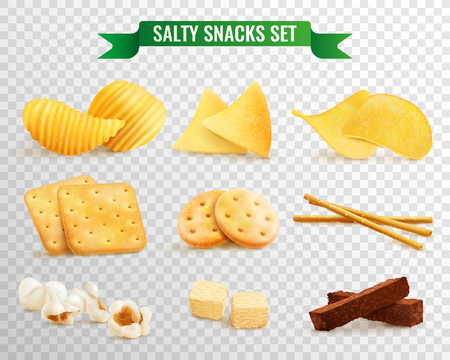 Collection of salty snacks images on transparent background with realistic pieces of chips and cookies.