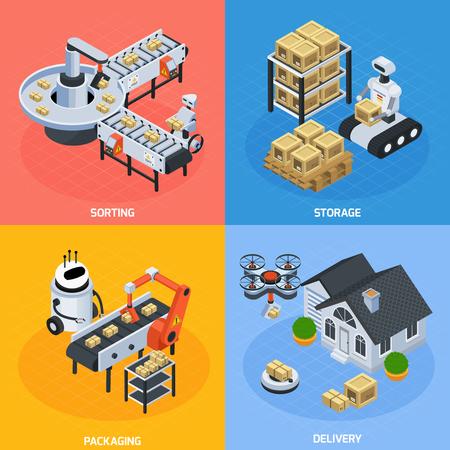 Automatic logistics concept isometric icons set vector illustration.
