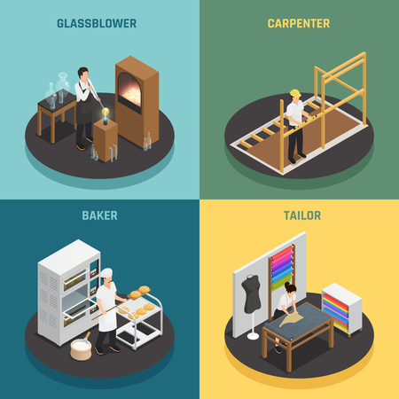 Artisan professions design concept set vector illustration. Ilustrace