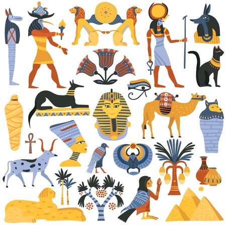 Conjunto de elementos de la religión egipcia antigua ilustración vectorial. Ilustración de vector