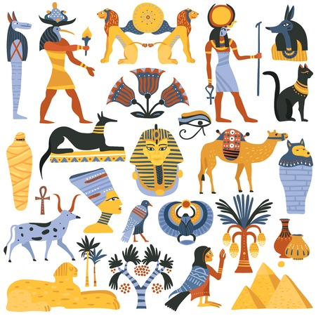 Set of ancient Egyptian religion elements vector illustration.