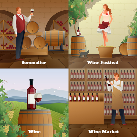 Wine production gradient concept icons set  flat isolated vector illustration