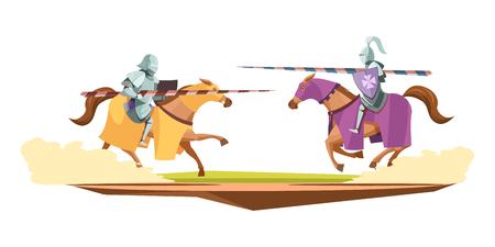 Middeleeuwse gebreide samenstelling van de het beeldverhaalsamenstelling van het toernooien.