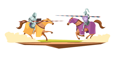 Medieval knits tournament cartoon composition vector illustration.