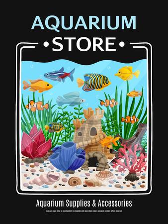 Aquarium supplies and accessories, cartoon poster vector illustration. Ilustrace